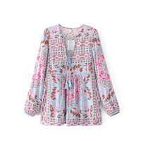 2017 Women Blouses V Neck Long Sleeve Shirts Women New Brand Shirt With Dot Florals Womens