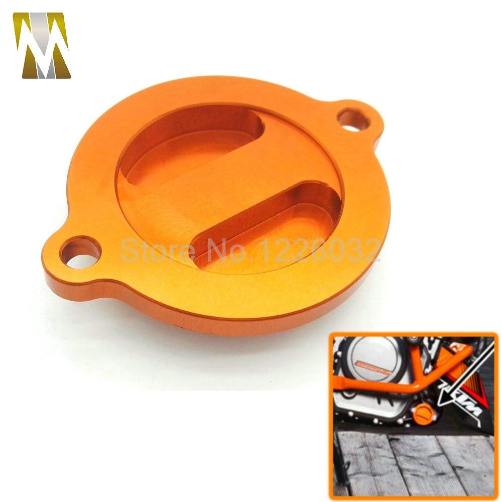 2016 Motorcycle Aluminum CNC Engine Oil Filter Cover Cap for KTM DUKE 125/200/390 Orange