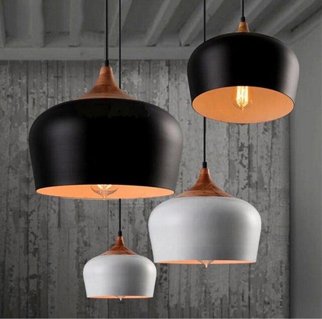 Moderne eetkamer hanglampen verlichting armaturen hout aluminium ...