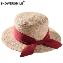 SHOWERSMILE Boater Sun Hat For Women Spring Summer Ladies Straw Red Rabbon Bowknot Female British Style Retro