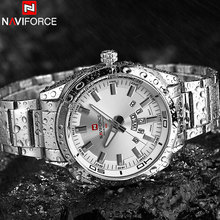 NAVIFORCE Brand Men Watches Luxury Sport Quartz 30M Waterproof Watches Men's Stainless Steel Band Auto Date Wristwatches Relojes