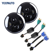 2PC Black 7 Inch Round Headlight For Jeep Wrangler 97 15 7 LED Headlight Headlamp With
