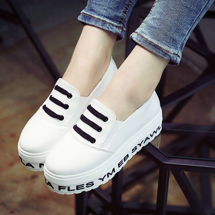 2016 white heavy-bottomed shoes lazy students a pedal canvas doug shoes women solid Loafers shoes 1