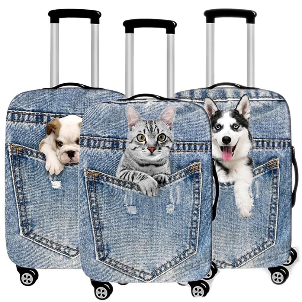 Suitcase Protective-Case Travel-Accessorie Pet-Cat-Luggage-Cover Elastic Waterproof Kawaii