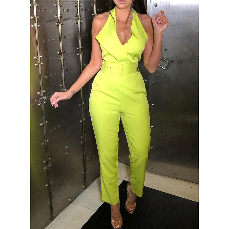 Belted halter   jumpsuit   for women 2019 Sleeveless high waist pants long   jumpsuits   Sexy v neck rompers bodysuit womens overalls