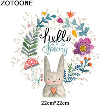 ZOTOONE Cute Rabbit Patches for Kids Iron on Transfers Clothes T-shirt Heat Transfer Stickers DIY Accessory Appliques