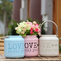 European Pastoral Style Hollow LOVE Floor Lamp Candle Holder Vase Storage Bucket For Wedding Party DIY
