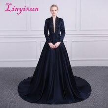 Linyixun Sexy Decote Em V Uma linha de Vestidos de Baile Com Lantejoulas frisada Completa Mangas Vestidos de Noite Formal 2018 Cetim vestido de festa