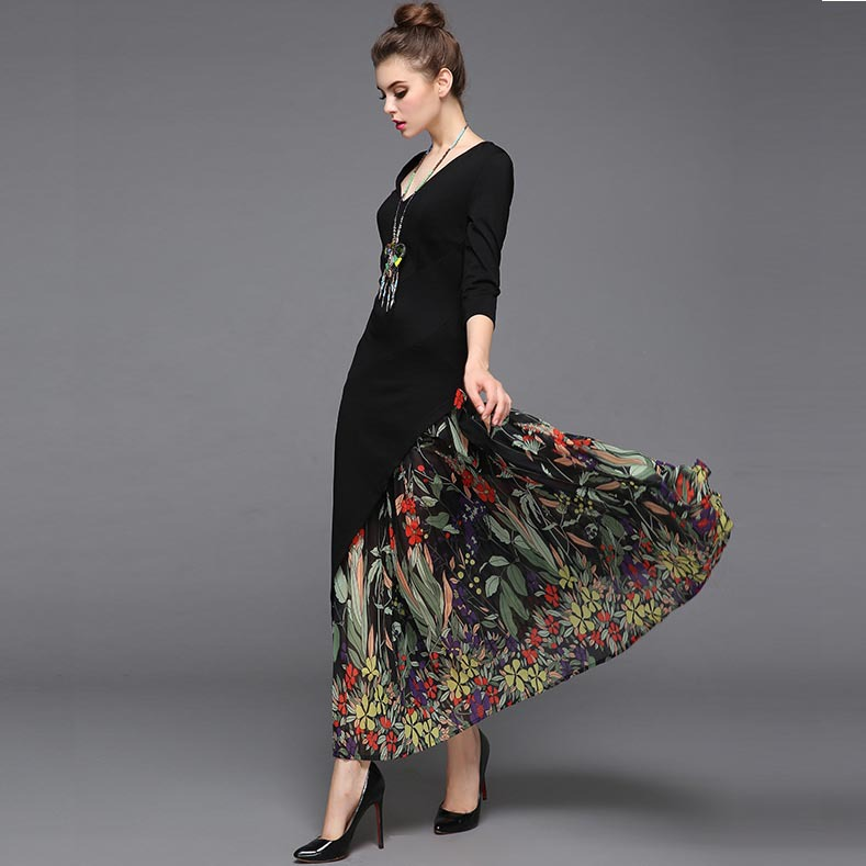 New Arrival 2018 Womens Sexy V Neck 3/4 Sleeves Printed Asymetric Patchwork A Line Elegant Designer Autumn Dresses in Plus size