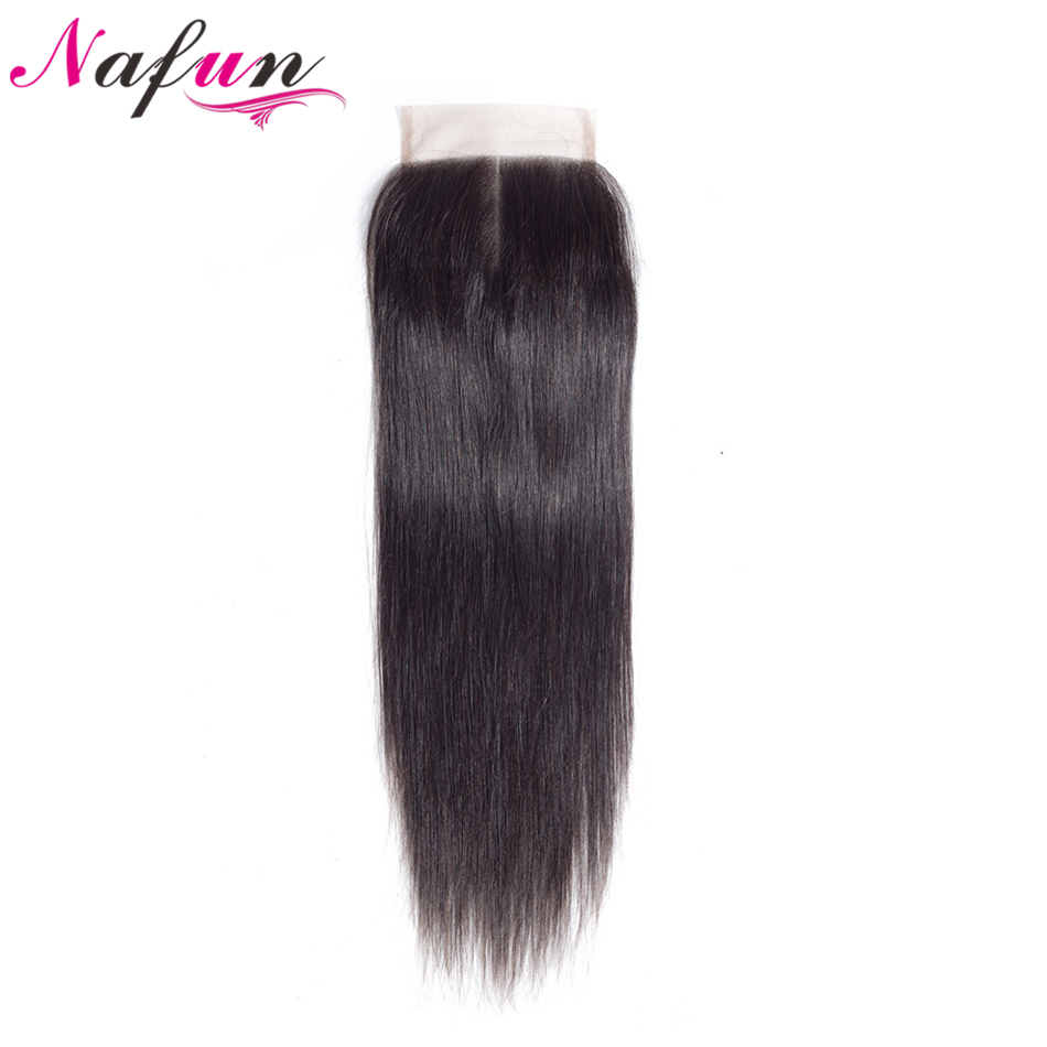 NAFUN Hair Malaysian Straight 4*4 Lace Closure Middle/Free/Three Part Natural Color Non Remy Human Hair Closure 8 To 20 Inches