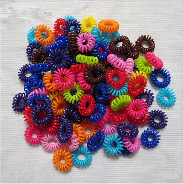 Velishy 10pcs Elastic Hair Bands Cleartelephone Wire Plastic Spring Gum Hair Ties No Crease Coil Ponytail Party Gift Kid Toy Girls' Clothing Hair Accessories