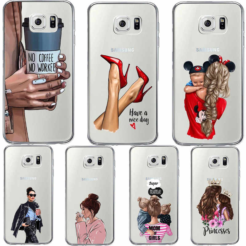 Fashion Black Brown Hair Baby Mom Girl Case For Samsung Galaxy S6 S7 Edge S8 Plus S9 S10 S10E Lite S10 Plus Silicone Phone Cover