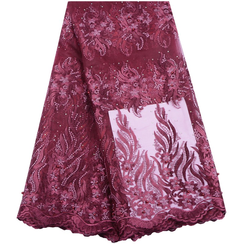 Latest Rose African Lace Fabric 2019 High Quality Embroidery Tulle Lace Fabric Nigerian Lace Fabric For