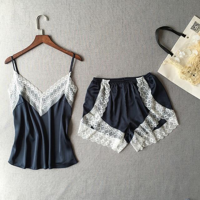 Women's Sleepwear Sexy Satin Pajama Set White Lace V-Neck Pyjamas Sleeveless Cute Cami Top and Shorts 2