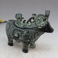 Crafts statue Bronze sheep statue wine glass wine