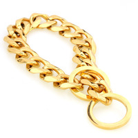 15mm/19mm Strong Gold Stainless Steel Curb Chain for Large Pet Dog Pitbull Doberman Trainning Collar Choker 18 30