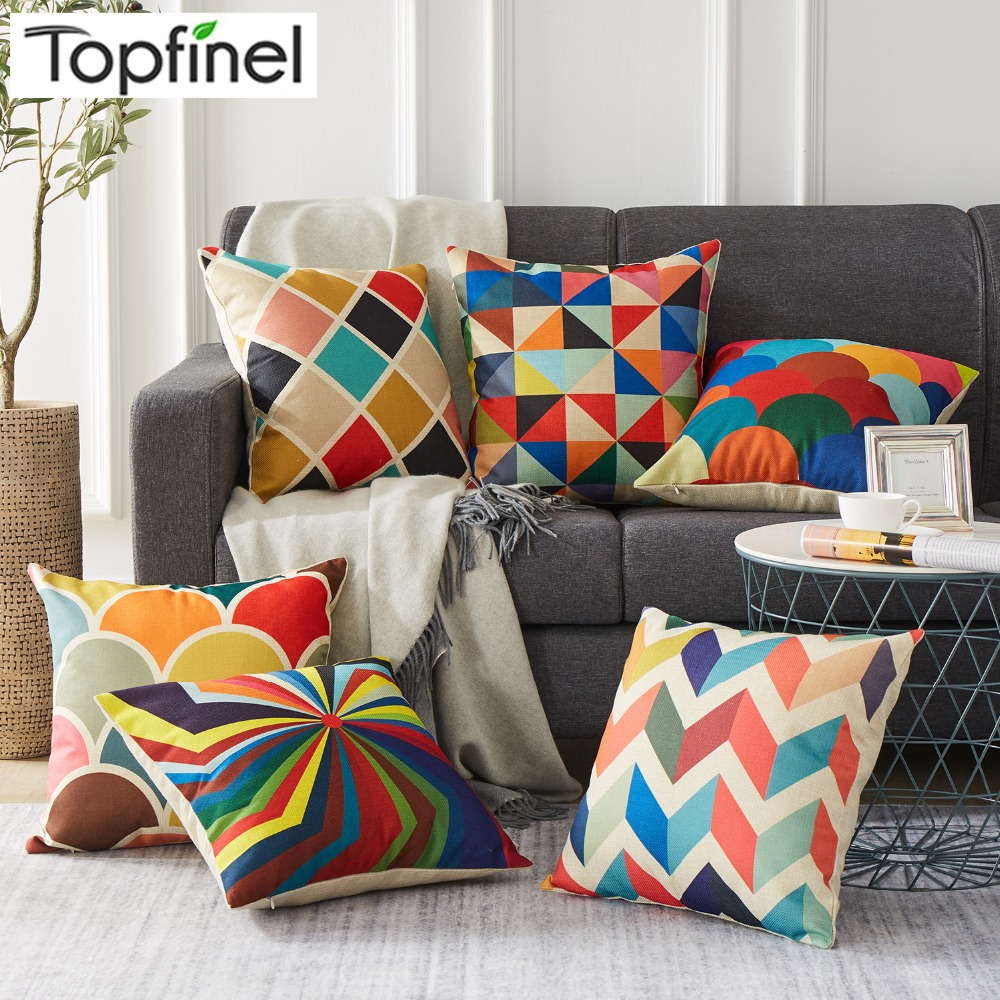 Topfinel Geometry Decorative Throw Pillowcases Linen Cotton Cushion Cover Home Decoration for Sofa Car Chair Children 45X45cm