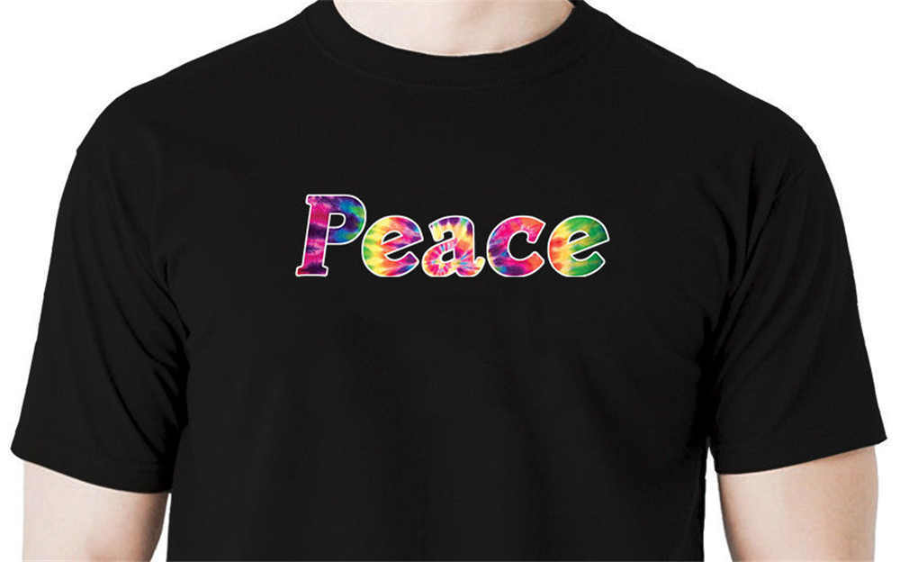 2019 Fashion Brand Tie dye peace t shirt love hippie retro Novelty Short Sleeve Tee Tops Clothes