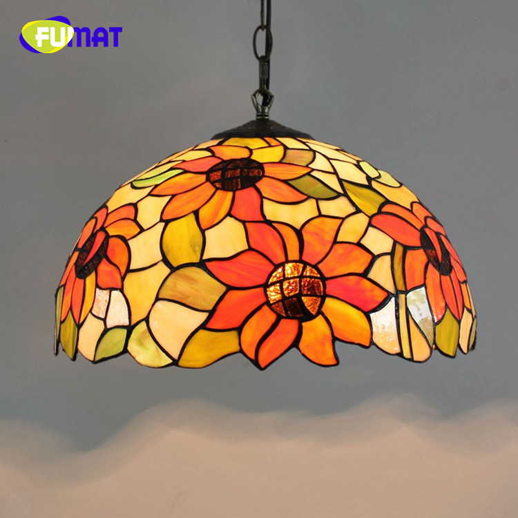 FUMAT American Creative Tiffany Retro Classic Sun Flower Stained Glass Art Grape bar Restaurant coffee Chandelier