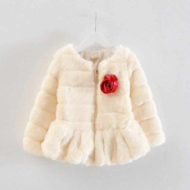 Moda Outono Inverno Quente Roupas de Bebê Meninas Crianças Crianças Engrosse Velo da Pele Do Falso Rosa Princesa Jaqueta Casaco Outwear Casaco S3893
