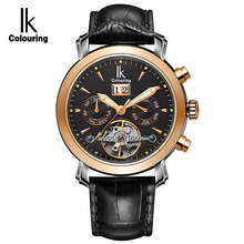 IK Colouring Sapphire Glass Automatic SelfWind Men Watch 10ATM Deep Waterproof Luminous Display Hollow Back Cover Business Style