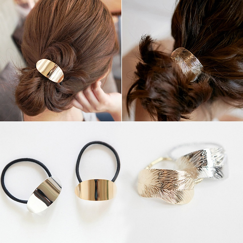 M MISM Ins Korean Girls Hair Accessories Women Retro Metal Leaves Elastic Hair Ties Bands Gum For Hair Scrunchie Scrunchy Mujer