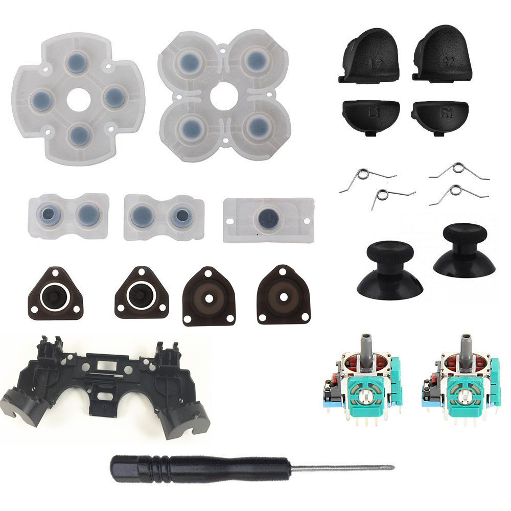 For PS4 Controller Repair Set L1 R1 L2 R2 Trigger Buttons 3D analog Joysticks Thumb Sticks Cap Conductive Rubber Screwdriver KitFor PS4 Controller Repair Set L1 R1 L2 R2 Trigger Buttons 3D analog Joysticks Thumb Sticks Cap Conductive Rubber Screwdriver Kit