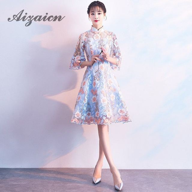 Chinese Traditional Dress Cheongsam 2018 Korea Summer Dress Elegant Lace  Embroidery Qipao Girl A-line e86fa68e5ca6