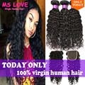Brazilian Virgin Hair With Closure 4 bundles Brazilian Water Wave With Closure 7A Wet And Wavy Brazilian Human Hair With Closure
