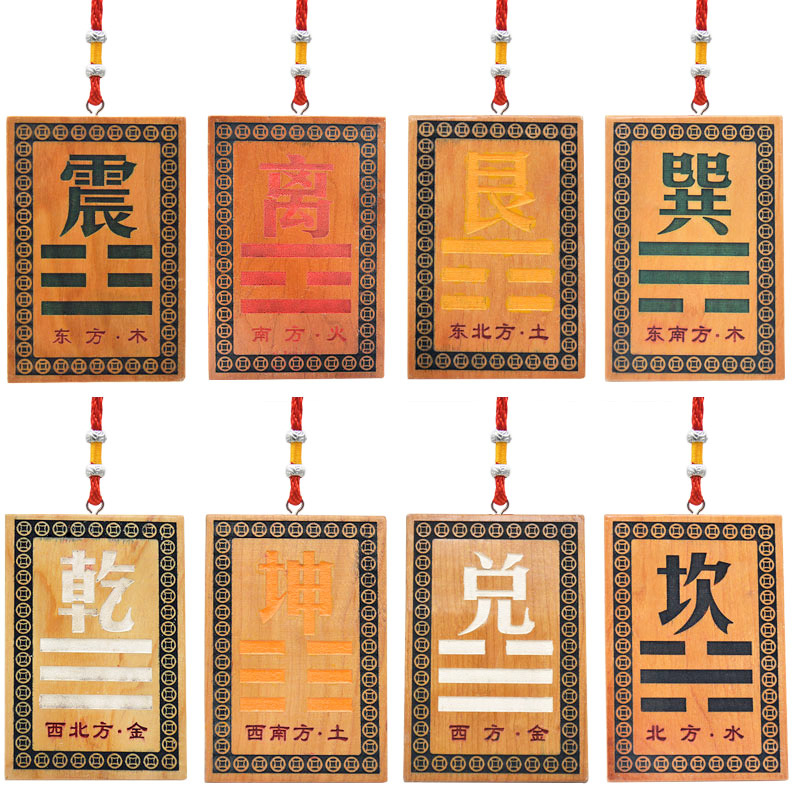 House Corner Fillet Peach Wood Feng Shui Ornaments Wooden sign Pendant Card Bagua Mirror The Eight Trigrams mirror Home Decor