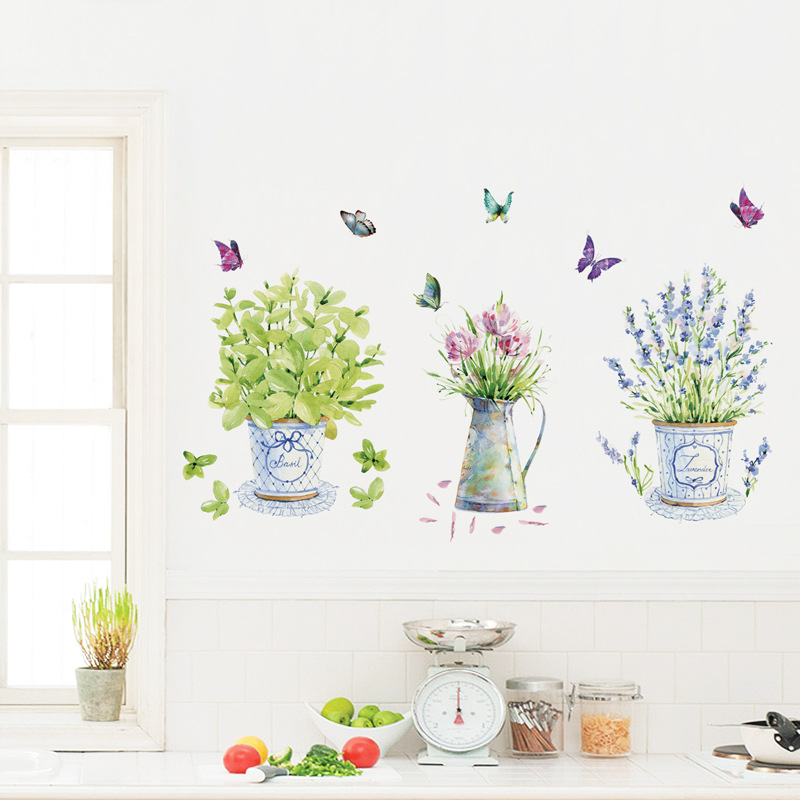 Diy green plants wall stickers potted flower pot butterfly kitchen cabinet stickers deca ...