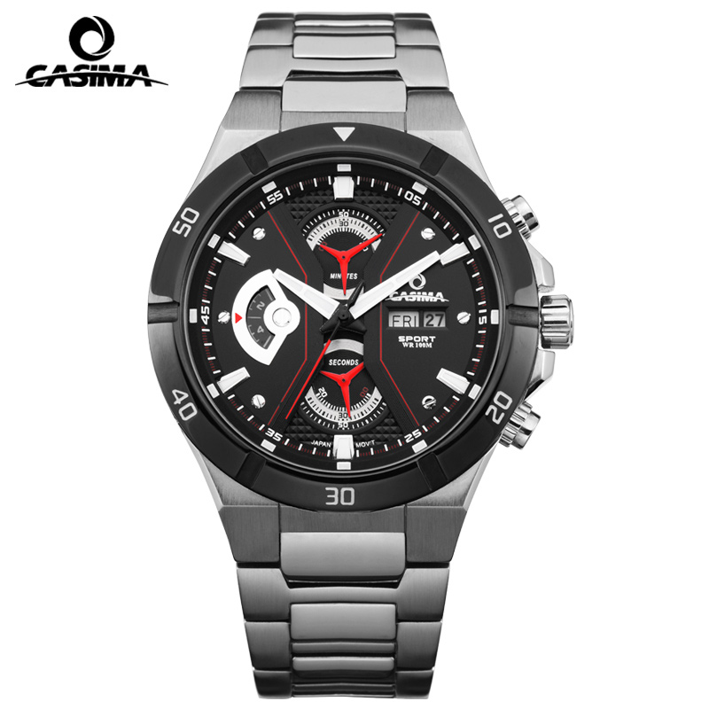 Nouvelle marque de luxe montres hommes décontracté multi-fonction Sport hommes Quartz montre-bracelet étanche 100 m CASIMA #8204