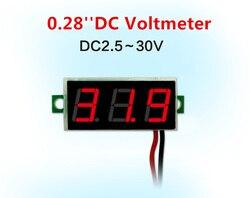0,28 дюймов красный синий цифровой светодиодный мини-дисплей модуль DC2.5V-30V DC0-100V вольтметр тестер напряжения измерительный прибор с панелью м...