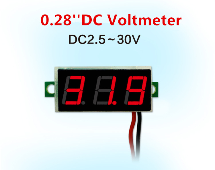 0.28 Inch Red Blue Digital LED Mini Display Module DC2.5V-30V DC0-100V Voltmeter Voltage Tester Panel Meter Gauge Motorcycle Car mini digital voltmeter ammeter dc 100v 30a voltmeter current meter tester vat1030 led display 274833