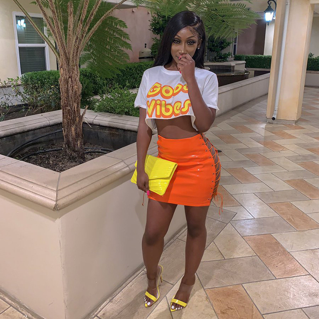 OMSJ 2019 Sexy Club Female Mini Pencil Skirt Women High Waist Lace Up Neon Green Orange Solid Bodycon Hollow Out Bandage Skirts 4