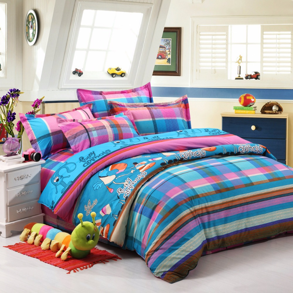 Funny bed sheets - Cheap Bedding Blue Pink Plaid Funny Animals Cartoon 3 4pcs Bedding Sets Cotton Character Bed Cover For