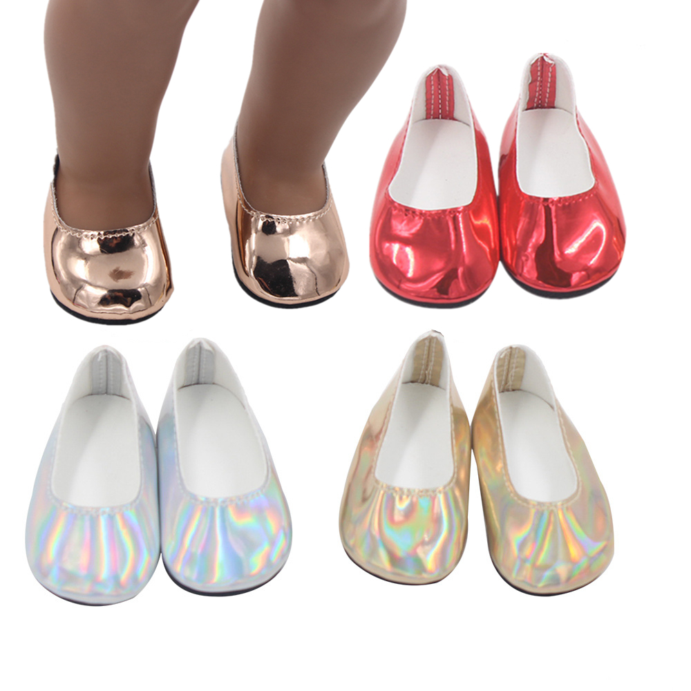 Fashionable Bright Flat Shoes Fits 18 Inch Doll 43CM Dolls Baby Doll DIY Manual Shoes For American Doll Boots