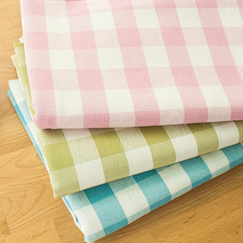 Pastoral Linen Cotton Fabric Printing Plaid Cotton Cloth For Diy