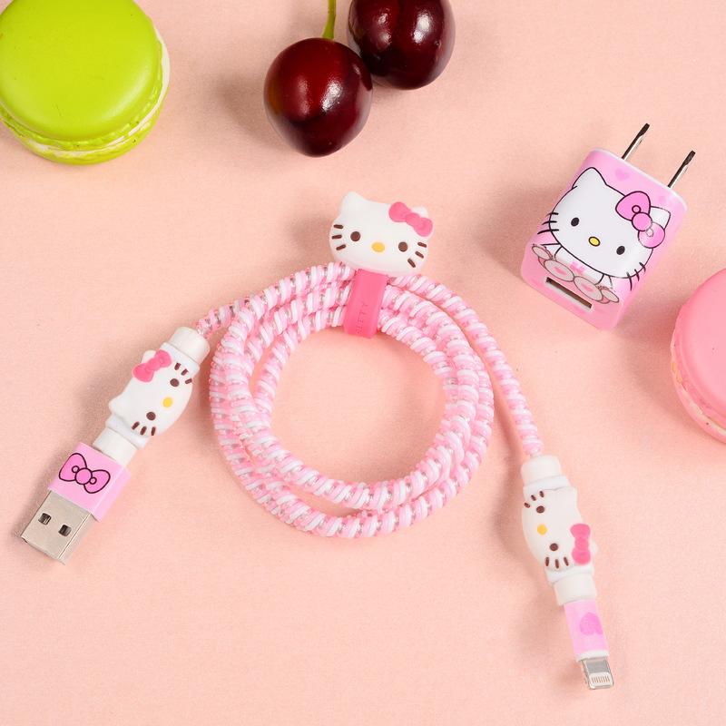 Upgrade USB Cable Earphone Protector Set With Cable Winder Cartoon Stickers USB Charger Cable Cord Protector For Iphone Samsung