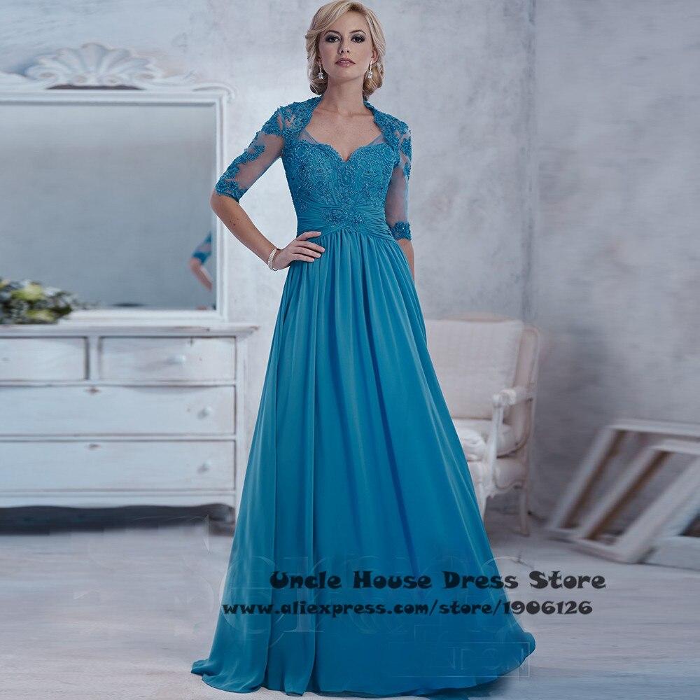 Vestido mae noiva Blue Mother Of The Bride Lace Dresses Plus Size ...