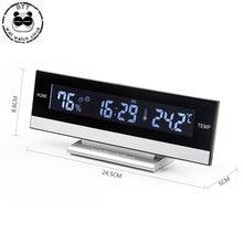 שעון מעורר LCD גדול מסך LED תצוגה אלקטרוני שעון מעורר שולחן טמפרטורת לחות שעון אלקטרוני שעון מעורר
