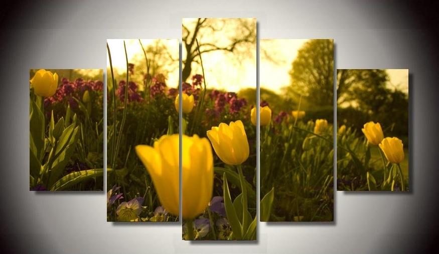 HD Printed Yellow tulip flowers 5 piece painting wall art children\'s ...