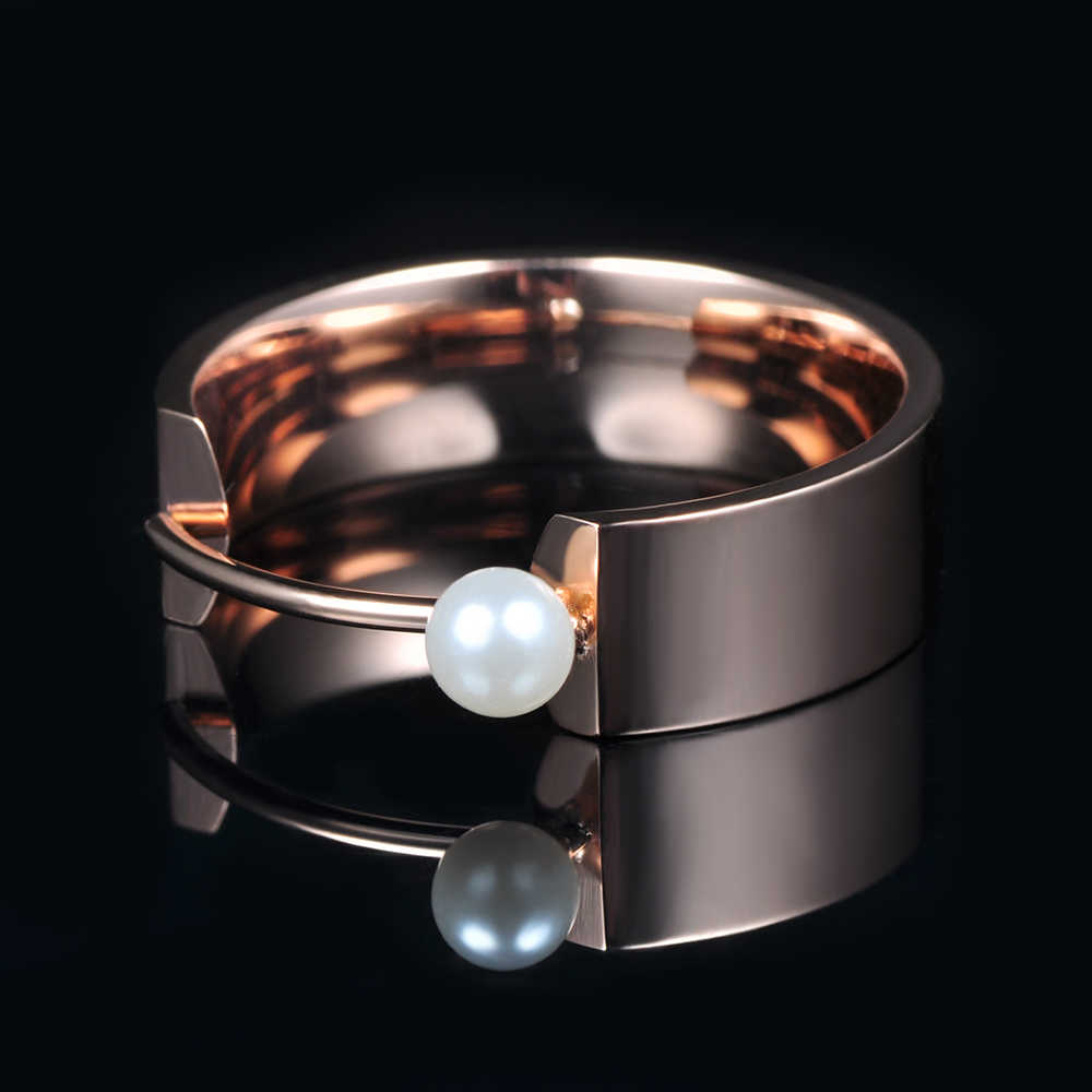 Оригинальные обручальные кольца Lokaer, помолвочные кольца из титановой стали цвета розового золота с искусственным жемчугом, ювелирные изделия, R171420333R