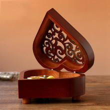 Restore Ancient Ways Heart-shaped Spring Music Box Woodiness The Music Box Heaven Of City Originality Gift Gift
