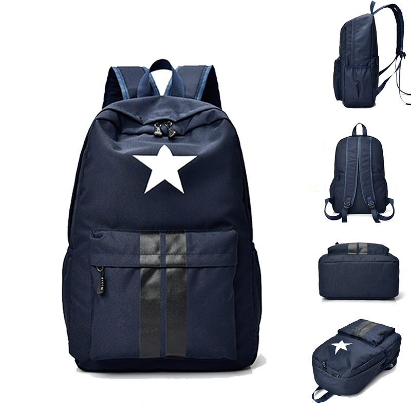 Fashion boy girl schoolbag adolescent cute five-pointed star printed waterproof canvas lady backpack school backpack