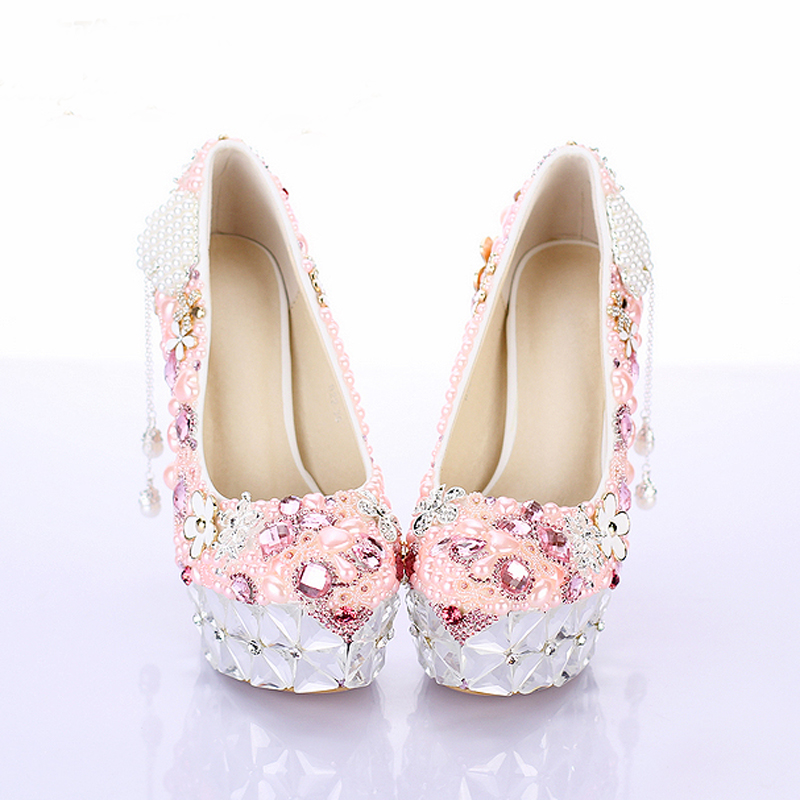 2018 Gorgeous Pink Flower Crystal Heel Platforms Wedding Ceremony Party  Shoes Rhinestone Bridal Dress Shoes Luxury Prom Pumps-in Women s Pumps from  Shoes on ... c00cc11b5e40