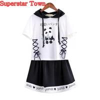 Summer Women Dresses Set Panda Dress Lolita Sweet Mori Girl School Clothes Harajuku Clothing Cute