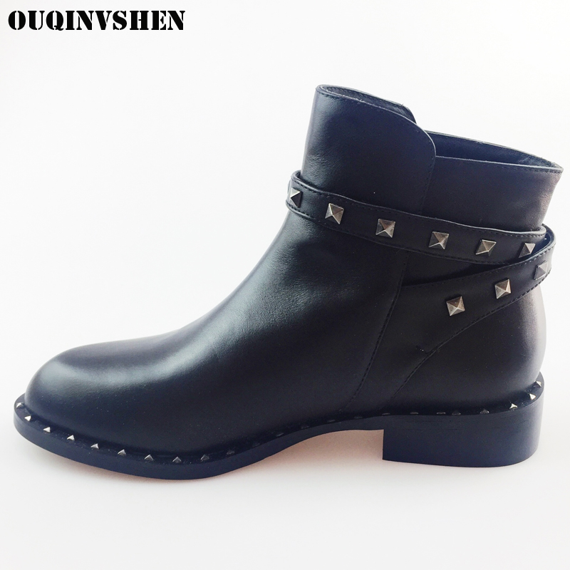 OUQINVSHEN Round Toe Square heel Mid Heels Women Boots Casual Fashion Winter Black Ankle Boots 2017 Buckle Rivet Women's Boots a suit of chic fake pearl rhinestone hollow out flower necklace and earrings for women