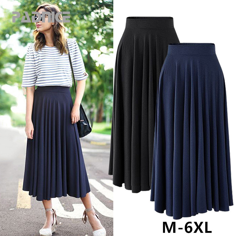 Plus Size Skirt Women Summer 2019 New Modal Loose Size Solid Skirt Fat Mm Long Skirt High Waist Pleated Long Skirt  3XL 4XL 5XL