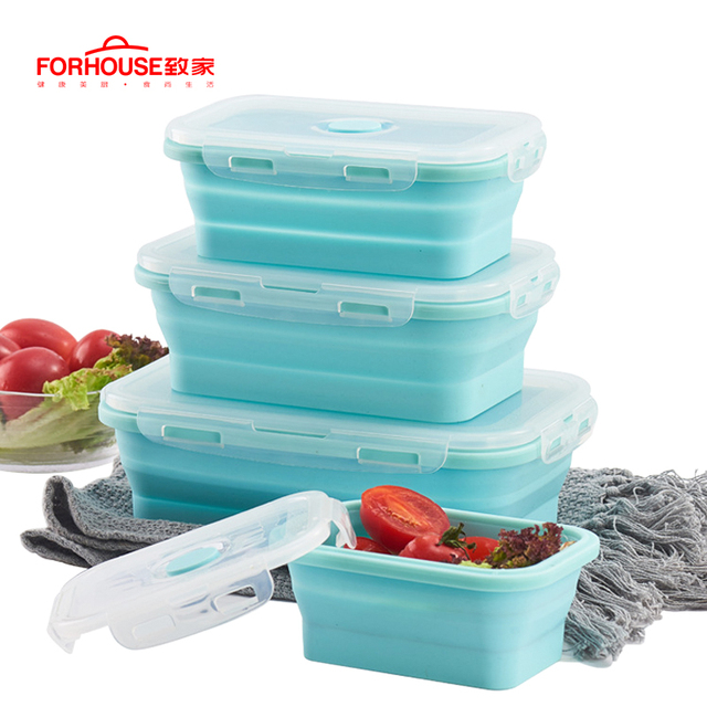 Silicone Collapsible Lunch Box Food Storage Container Bento BPA Free Microwavable Portable Picnic Camping Outdoor Free Shipping 2
